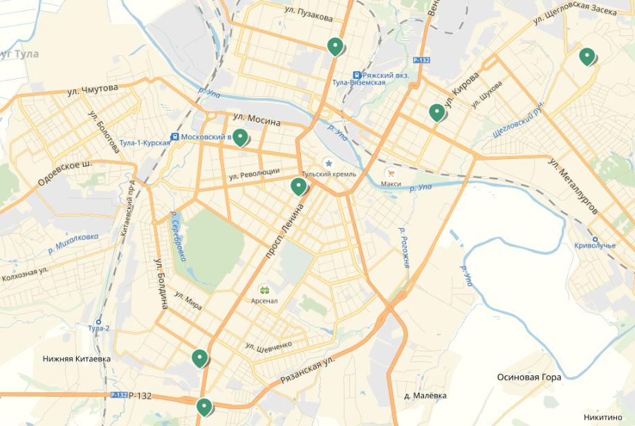 Где смотреть адреса БК «Лига Ставок» в городах Тула и Омск?